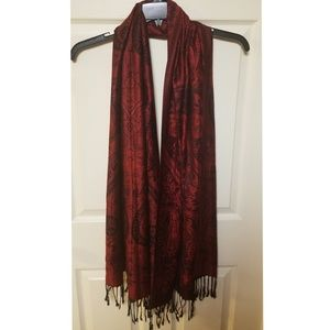 Accessories - Red Patterned Scarf